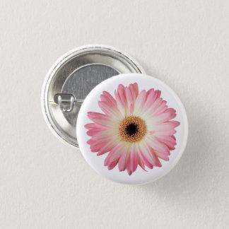 Bóton Redondo 2.54cm Flor fotográfica do rosa e a branca do Gerbera da
