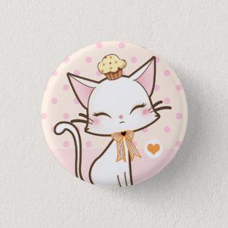 Bóton Redondo 2.54cm Gato branco bonito de Kawaii com cupcake