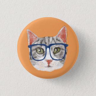 Bóton Redondo 2.54cm Gato de gato malhado cinzento esperto do hipster