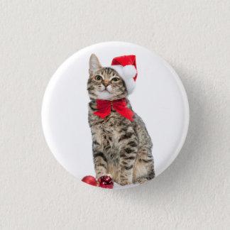 Bóton Redondo 2.54cm Gato do Natal - gato de Papai Noel - gatinho