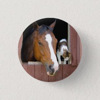 Bóton Redondo 2.54cm Gato e cavalo - rancho do cavalo - amantes do