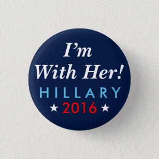"""Bóton Redondo 2.54cm Hillary Clinton 2016: """"Eu sou com ela!"""" Botão"""