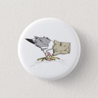 Bóton Redondo 2.54cm Ilustração engraçada do pássaro do botão | da
