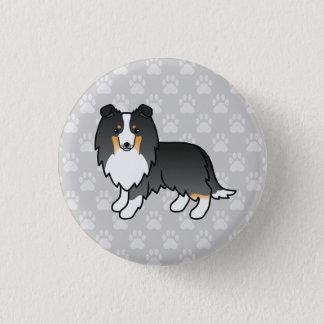Bóton Redondo 2.54cm Ilustração Tricolor do Sheepdog de Shetland no