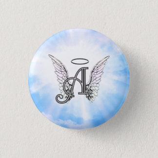 Bóton Redondo 2.54cm Inicial A do monograma, asas do anjo & halo com