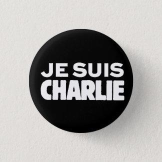 Bóton Redondo 2.54cm Je Suis Charlie-Eu am Charlie-Branco no preto