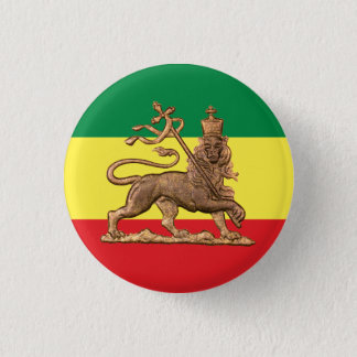 Bóton Redondo 2.54cm Lion of Judah - Haile Selassie Rastafari Button -