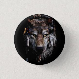Bóton Redondo 2.54cm Lobo indiano - lobo cinzento