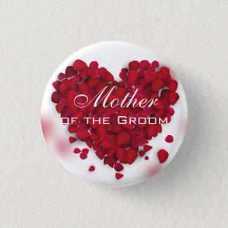 Bóton Redondo 2.54cm Mãe do coração do amor das pétalas de rosa