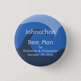 """Bóton Redondo 2.54cm """"Melhor homem azul da maré"""" - com nomes e data"""