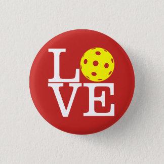 Bóton Redondo 2.54cm Mini botão de Pickleball: AMOR (vermelho)