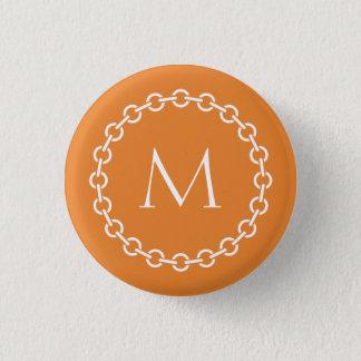 Bóton Redondo 2.54cm Monograma branco do círculo do anel do elo de