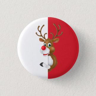 Bóton Redondo 2.54cm O botão vermelho do Pin do Natal da rena do nariz