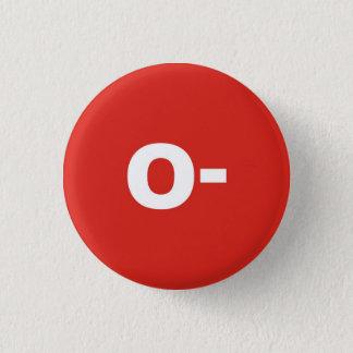Bóton Redondo 2.54cm O- Crachá negativo do Rh do tipo/grupo de sangue