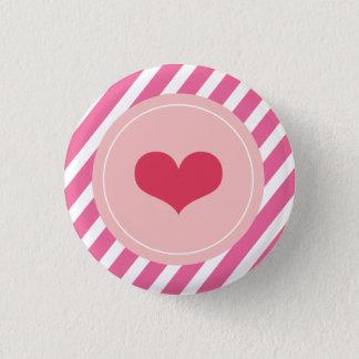 Bóton Redondo 2.54cm O rosa bonito do amor listra botões do dia dos