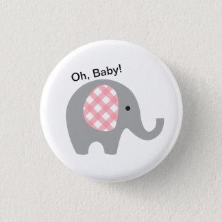 Bóton Redondo 2.54cm Oh, bebê! Botão com elefante cinzento e as orelhas