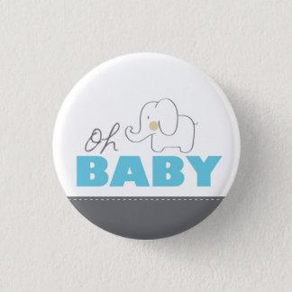Bóton Redondo 2.54cm Oh botão azul & cinzento do elefante do bebê - do