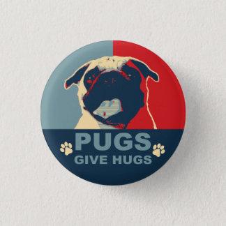 Bóton Redondo 2.54cm Os Pugs dão o botão dos abraços