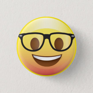 Bóton Redondo 2.54cm Os vidros felizes Emoji do nerd enfrentam o Pin