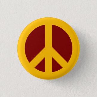 Bóton Redondo 2.54cm Ouro e botão marrom do símbolo de paz