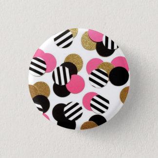 Bóton Redondo 2.54cm Ouro, preto, e botão do ponto do rosa