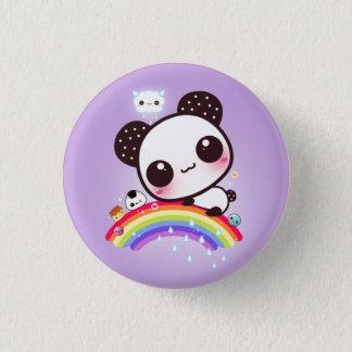 Bóton Redondo 2.54cm Panda bonito com comida do kawaii no arco-íris