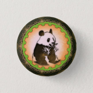 Bóton Redondo 2.54cm Panda feliz de assento na laranja