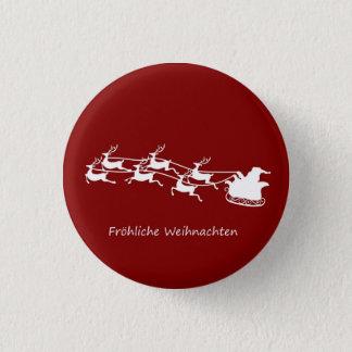 Bóton Redondo 2.54cm Papai noel no trenó Fröhliche Weihnachten