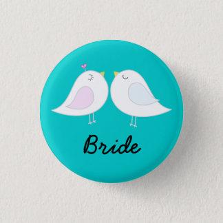 Bóton Redondo 2.54cm Pássaros do amor no botão da noiva do Aqua