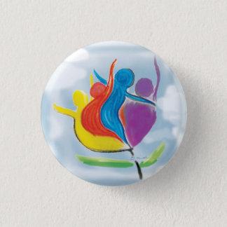 Bóton Redondo 2.54cm Paz em pessoas da terra no botão da harmonia