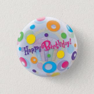 Bóton Redondo 2.54cm Pequeno, 1 botão redondo do feliz aniversario da