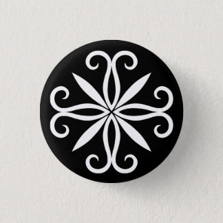 Bóton Redondo 2.54cm Pequeno swirly branco elegante