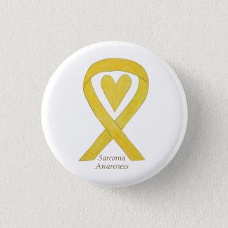 Bóton Redondo 2.54cm Pin amarelo do costume da fita da consciência do