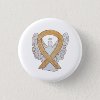Bóton Redondo 2.54cm Pin ambarino do anjo do cancer do apêndice da fita