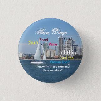 Bóton Redondo 2.54cm Pin de San Diego, Califórnia