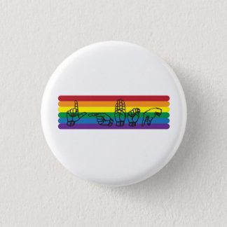 Bóton Redondo 2.54cm Pin do arco-íris do ASL LGBTQ