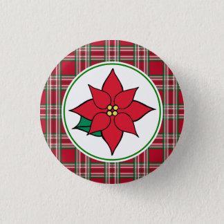 Bóton Redondo 2.54cm Pin do botão do feriado do Natal da poinsétia
