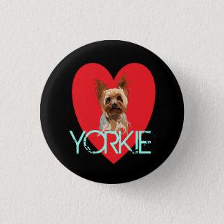 Bóton Redondo 2.54cm Pin do cão: Coração de Yorkie