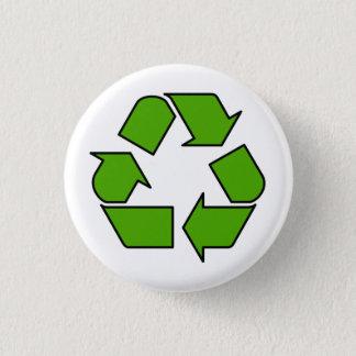 Bóton Redondo 2.54cm Pino verde do botão do símbolo do reciclar para o