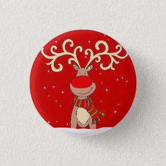Bóton Redondo 2.54cm Pino vermelho do Natal do nariz dos antlers