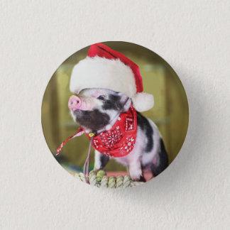 Bóton Redondo 2.54cm Porco Papai Noel - porco do Natal - leitão