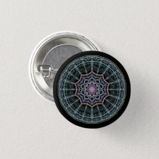Bóton Redondo 2.54cm Preto de néon do caleidoscópio da mandala azul do