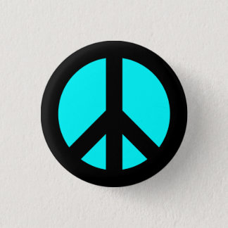 Bóton Redondo 2.54cm Preto e botão do símbolo de paz do Aqua