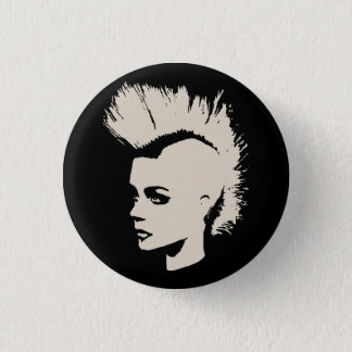 Bóton Redondo 2.54cm Punk Girl white - print unichrome creme -