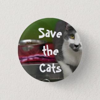 Bóton Redondo 2.54cm Salvar o botão dos gatos