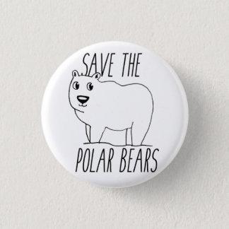 Bóton Redondo 2.54cm Salvar o botão dos ursos polares