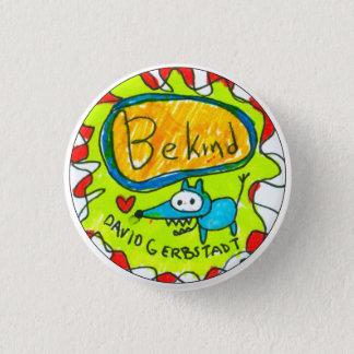 Bóton Redondo 2.54cm Seja cão azul amável com coração