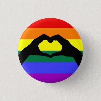 Bóton Redondo 2.54cm Silhueta do arco-íris de LGBT e da mão do coração