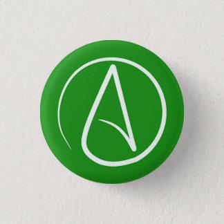Bóton Redondo 2.54cm Símbolo ateu: branco no verde