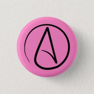 Bóton Redondo 2.54cm Símbolo ateu: preto na luz - rosa